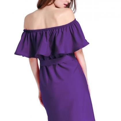 Purple Ruffled Off-The-Shoulder Sho..