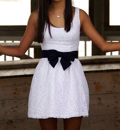 Fashion Dress, Cute Lace Bow Dress,Short Dress,White Color Dress,Custom Dress