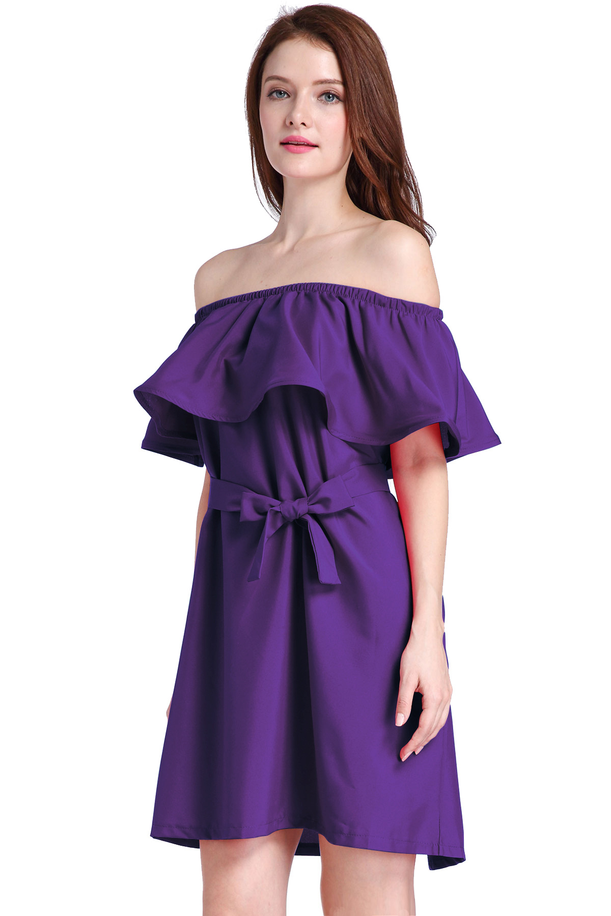 Purple Ruffled Off-The-Shoulder Short Dress Featuring Bow Accent Belt