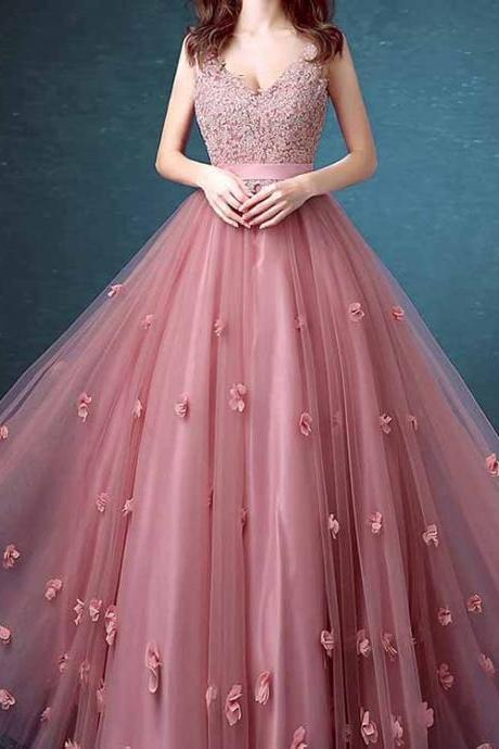 Sexy Prom Dresses,Lace Floral Appliques ,Evening Dresses ,Cheap Sleeveless Long Prom Dresses