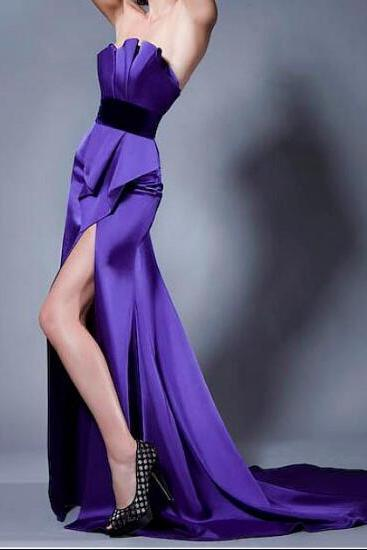 Satin Strapless Neckline Floor-length Sheath Prom Dress Purple Party Dress