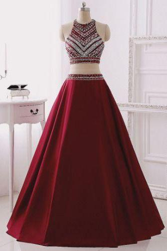 Long Two Pieces Prom Dress with Beaded Halter Neck Crop Top - Evening Dress,Red Dresses