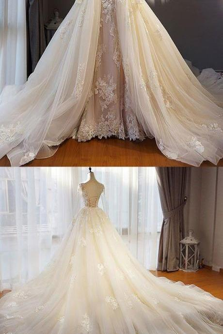 Neckline Ball Gown,White Tulle Wedding Dress with Lace , Sweep Train ,Long Sleeves ,Lace Appliques, Customize Made,2018 New Fashion ,Prom Dress
