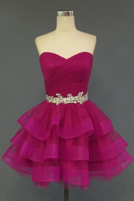 Organza Ruched Sweetheart Short Ruffled Layered Homecoming Dress