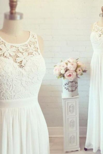Wedding Dresses,2018 White Simple Cheap Lace Wedding Dresses,Elegant Prom Dresses,Long Evening Dresses,Cap Sleeves Prom Dress For Teens