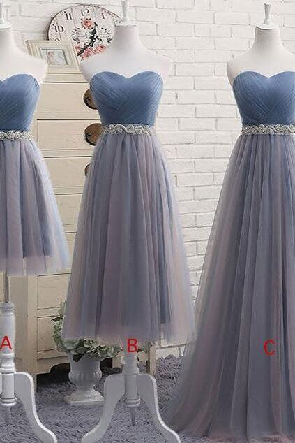 Custom Made Blue Sweetheart Tulle Beaded Short Evening Dress, Homecoming Dress, Cocktail Dresses, Graduation Dresses, Prom Dresses, Wedding, Bridesmaid Dress