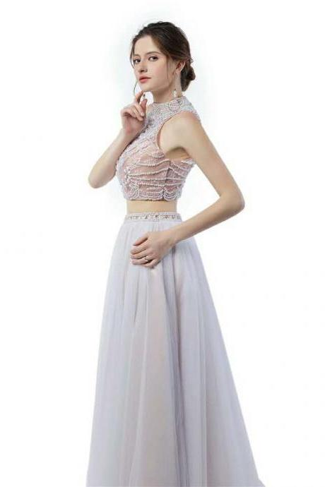 Prom Dress,Two Piece Prom Dress,Beaded Prom Dress,Tulle Prom Dress,Sleeveless Prom Dress,Long Prom Dress