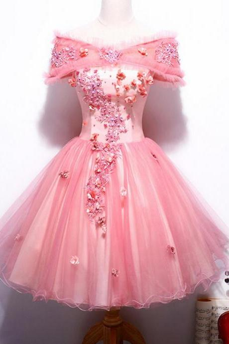 Short Homecoming Dress, Cute Homecoming Dress, Tulle Homecoming Dress, Applique Junior School Dress, Graduation Dress