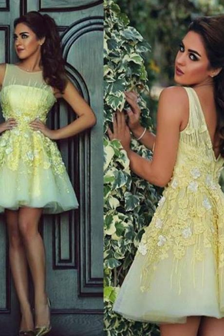 Yellow Party Dress, Dancing Dress,Charming Homecoming Dress,Short Homecoming Dress Mini Flower Sleeveless For Cheap Dresses,Custom Dress