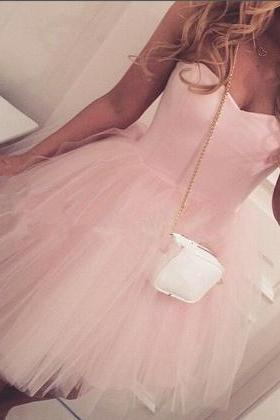 Tulle Homecoming Dress,Light Pink Graduation Dress,Sweetheart Short Prom Dress, Simple Short Prom Dress,Mini Party Gowns,Custom Dress