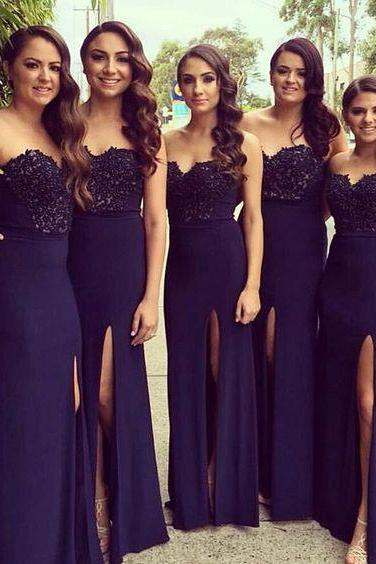 Sleeveless Bridesmaids Dress with Side Slit,Sweetheart Bridesmaids Dress, Prom Dress, Cheap Bridesmaid Dress, Sexy Bridesmaid Dress, Pretty Dress