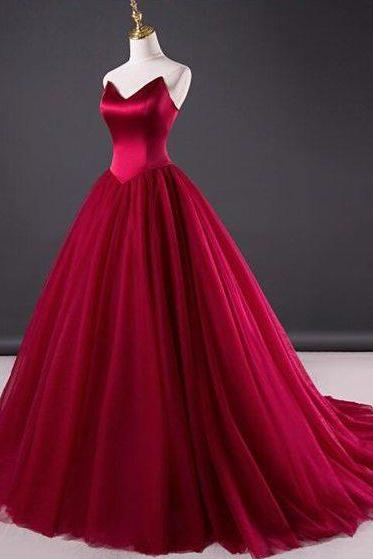 Red Wedding Dress,Strapless Bridal Dress,2018 New Fashion,Party Dress,Formal Dress