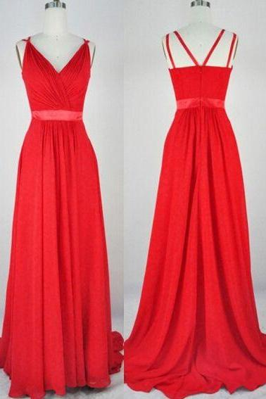 Long Prom Dress,Red Formal Occasion Dress, Chiffon Maxi Dress, Formal Evening Dress,Sexy Prom Dress,Women Dress, Formal Dress,Custom Dress
