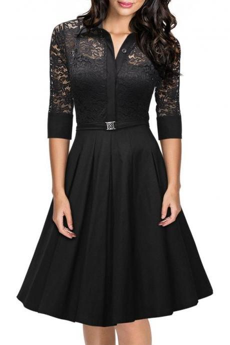 Retro A-line Black Dress,3/4 Sleeves Prom Dress,Summer Lace Dress, Black Women Dress,Fashion Dress, Party Dress ,Formal Dress,Custom Dress