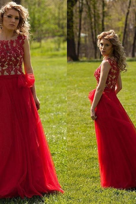 Elegant Long Dress, Red Evening Dress,Tulle Prom Dress,Fashion Prom Dress,Sexy Party Dress, New Style Evening Dress,Custom Prom Dress