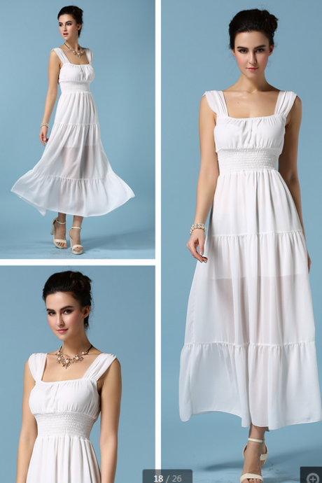 Chiffon Dress--white,Fashion Dress,Custom Dress