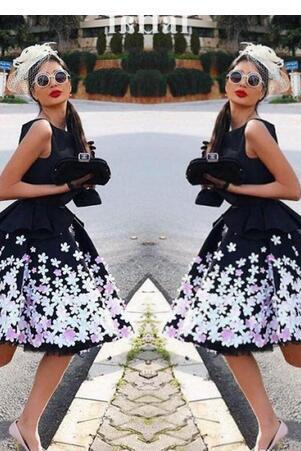 Charming Black Homecoming Dress, Colorful Appliques Dress, 2018 Sleeveless Knee Length Dress, Short Cocktail Party Dress, Little Black Dress