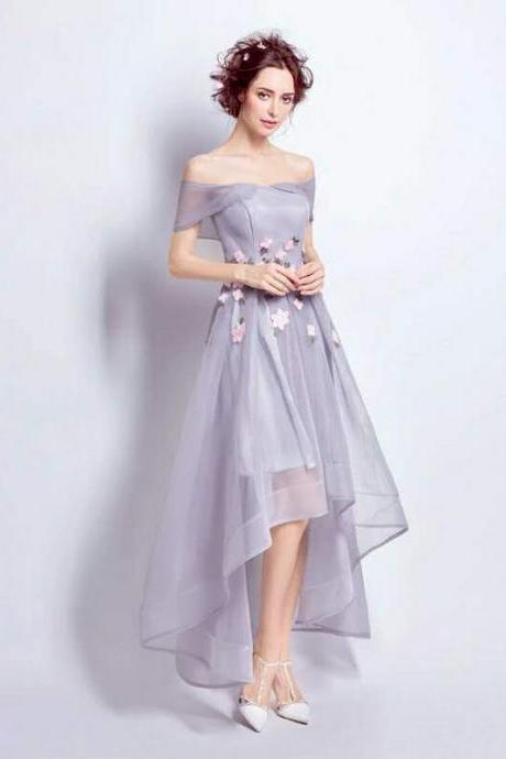 Charming Grey Homecoming Dress,New Fashion Homecoming Dress,Off Shoulder Tulle Homecoming Dress,Short Party Dress, Custom Prom Dress