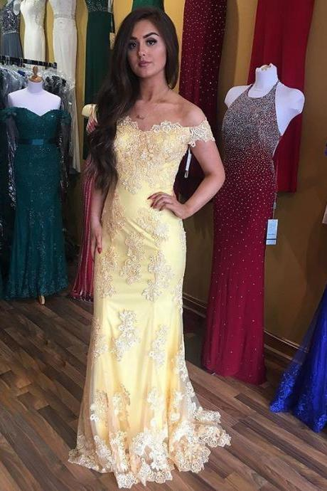 Charming Prom Dress,Lace Prom Dress,Off Shoulder Sleeves Evening Dress,Yellow Prom Dress,Mermaid Lace Evening Dress