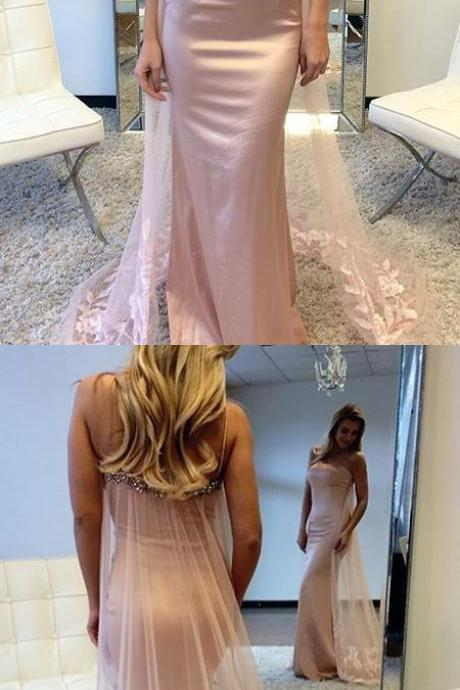Gorgeous Straps Mermaid Long Pink Prom Dress,Embroidery Train Dress,Party Gown,Cheap Evening dress, Custom Made Dress