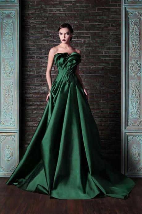 Beautiful Green Color Fashionable Prom Dresses ,Ruffles Ruched Full Satin Bridal Gowns ,Custom Made Evening Dress,Party Dress