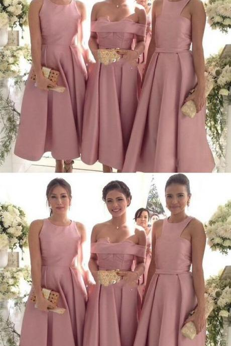 Cheap Simple Custom Bridesmaid Dress, Mismatched Pink Bridesmaid Dresses, Prom Dress, Evening Dress,