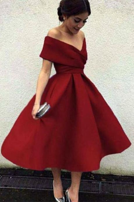 Vintage prom dress Style V-neck homecoming dress Off The Shoulder party dress Tea Length Ball Gowns Party Dresses