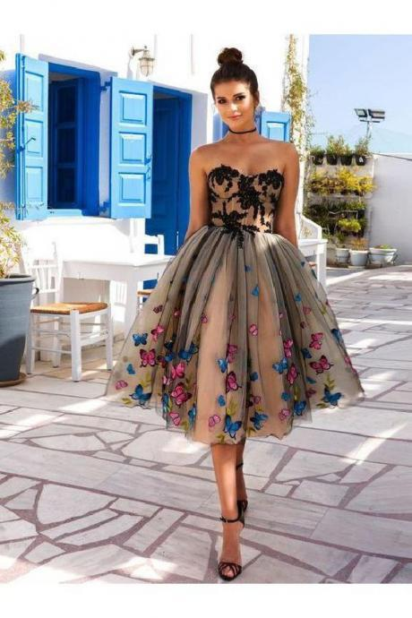 strapless homecoming dress Vintage prom dress Style homecoming dress Off The Shoulder party dress Tea Length Ball Gowns Party Dresses