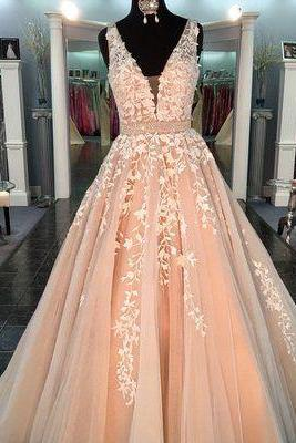Custom made ball gowns v neck evening dress tulle lace party dress long prom dress, formal dress appliques evening dress