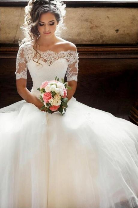Illusion Off-the-shoulder Princess Wedding Dress Sleeves lace wedding dress