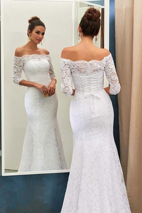 off shoulder Tulle Wedding Dress Illusion Lace Long Sleeves wedding dress mermaid wedding dress