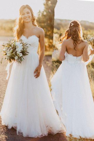 Beach Sweetheart White Wedding Dress with Lace,Casual A Line Wedding Dresses