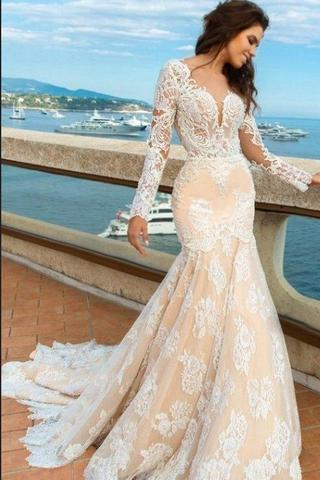 Lace Mermaid Deep V-Neck Backless Long Sleeves Backless Wedding Dresses