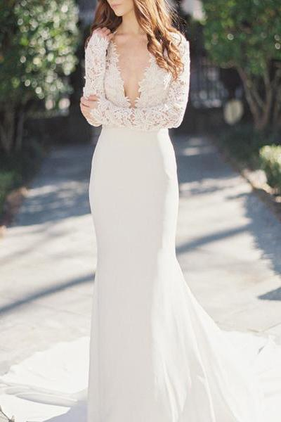 Sexy Deep V-Neck Lace Top Long Sleeve Mermaid Wedding Dress