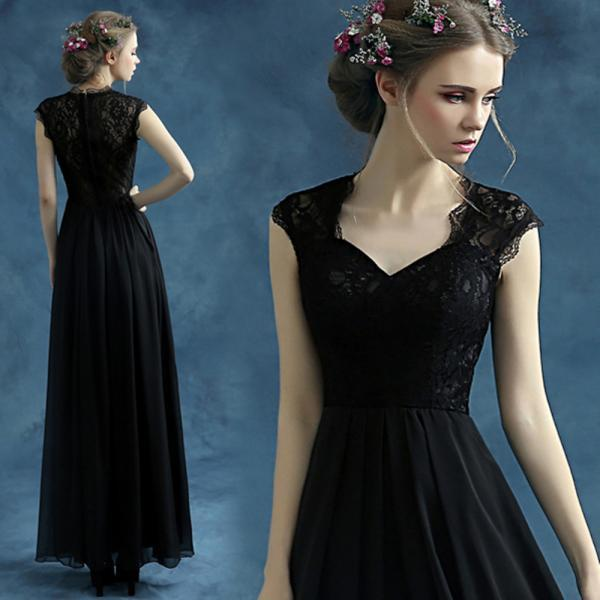 Black Elegant Prom Dress, Prom Dress,Neck Long Black Dress, Evening Dress,Lace Dress,Sexy Prom Dress,Women Dress, Formal Dress,Custom Dress