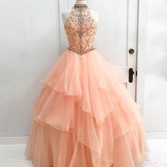 Charming Prom Dress, Elegant Prom Dress, Tulle Evening Dress with Beaded, Long Prom Dresses, Formal Dress, Homecoming Dress 2018