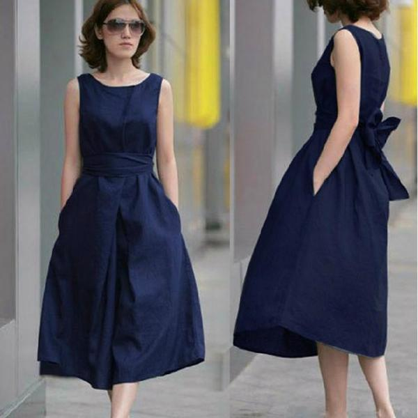 Navy Casual Dress, Large Size Dress,Causal Dress,Custom Dress