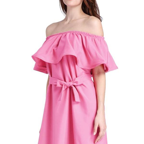 Beach Dress,Women Off Shoulder Dress, Summer Casual Dress, Frill Ruffle Dress,Party Beach Shirt Mini Dress, Pink Color Dress,Custom Dress