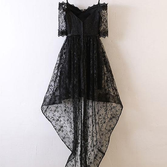 Black Lace High Low Prom Dress, Black Lace Evening Dress,Custom Prom Dress