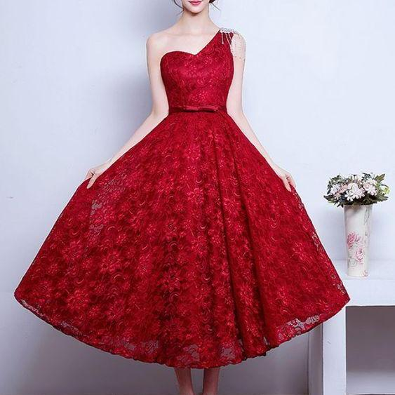 Vintage Nspired One Shoulder Lace Dress, Red Lace Evening Dress, Custom Prom Dress