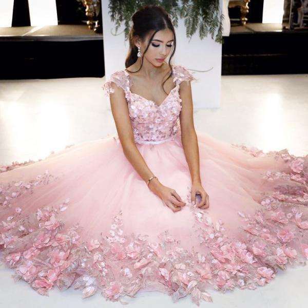 Cheap Prom Dress ,Pink Ball Gowns,Flower Dress,Cap Sleeves Homecoming Dress,Short Prom Dress,Custom Prom Dress
